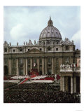 Saint Peter's Square: Mass Gathering During the Urbi St. Orbi Blessing by Pope Paul VI in 1965 Giclee Print