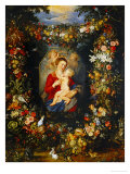 And Jan Brueghel: Mary Virgin and Child with Wreath of Flowers and Fruits Lámina giclée por Peter Paul Rubens
