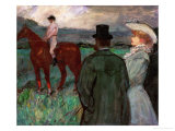 At the Race Tracks, 1899 Lmina gicle por Henri de Toulouse-Lautrec