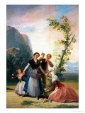 The Flower Girls (Spring), Cartoon for a Tapestry, 1786-1788 Giclée-Druck von Francisco de Goya