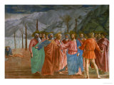 The Tribute Money, 1415-1428 Giclée-tryk af Masaccio