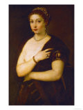 Young Woman with Fur, circa 1535 Giclee Print by  Titian (Tiziano Vecelli)