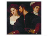 Self-Portrait with Friends Giclée-tryk af Titian (Tiziano Vecelli)