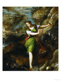 Saint Margaret and the Dragon Gicle-tryk af Titian (Tiziano Vecelli)