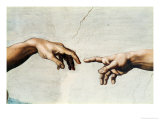 The Creation of Adam, Detail of God's and Adam's Hands, from the Sistine Ceiling Reproduction procédé giclée par Michelangelo Buonarroti