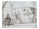 Tobias and the Angel, Pen and Brown Ink Drawing Giclee Print by  Rembrandt van Rijn