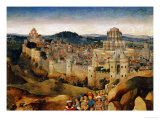 The Crucifixion, Oil, in the Background Jerusalem with Temple and Turreted Walls Giclee Print by Jan van Eyck 