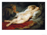 The Hermit and Sleeping Angelica Giclee Print by Peter Paul Rubens