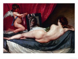 Venus and Cupid (Venus of the Mirror or Rockeby Venus) Giclee Print by Diego Velázquez