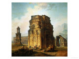 The Ruins of the Roman Triumphal Arch and the Theatre at Orange Reproduction procédé giclée par Hubert Robert