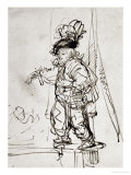 Actor with Parrot, Pen and Brown Ink Drawing Giclee Print by  Rembrandt van Rijn