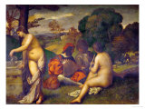 Or Giorgione, Concert in the Open Air Giclee Print by  Titian (Tiziano Vecelli)