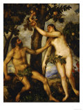 Adam and Eve, Around 1570 Giclée-tryk af Titian (Tiziano Vecelli)