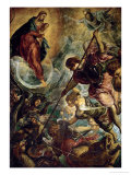 The Archangel Michael Fights Satan, (Revelation 12, 1-9) Lmina gicle por Jacopo Robusti Tintoretto