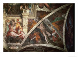The Sistine Chapel: The Prophet Jeremiah; The Punishment of Aman, Book Esther Giclee Print by  Michelangelo Buonarroti
