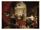 The Tapestry Weavers or the Fable of Arachne Reproduction procédé giclée par Diego Velázquez