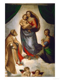 Sistine Madonna, Painted for Pope Julius II as His Present to City of Piacenza, Italy, 1512-1513 ジクレープリント : ラファエロ