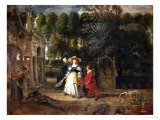 Peter Paul Rubens (Self-Portrait) and His Second Wife Helene Fourment in the Garden Giclee Print by Peter Paul Rubens