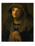 The Artist's Mother, as Prophetess Hannah Giclee Print by  Rembrandt van Rijn