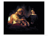 Jacob Blessing His Grandchildren Ephraim and Menasse, Parents Joseph and Anasth Giclee Print by  Rembrandt van Rijn