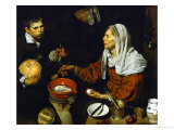 An Old Woman Frying Eggs Reproduction procédé giclée par Diego Velázquez