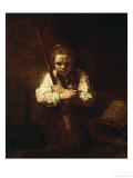 Girl with a Broom, 1640 Giclee Print by  Rembrandt van Rijn