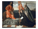 Pope Alexander Vi Presents Bishop Jacopo Pesaro to Saint Peter Giclee Print by  Titian (Tiziano Vecelli)