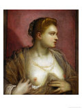 Lady Revealing Her Bosom, Perhaps the Famous Venetian Courtesan Veronica Franco Giclee Print by Jacopo Robusti Tintoretto