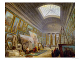 A Museum Gallery of Roman Art Giclee Print by Hubert Robert