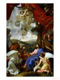Christ in the Desert Served by Angels, circa 1653 Giclée-tryk af Charles Le Brun