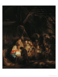 Adoration of the Shepherds, 1646 Gicledruk van Rembrandt van Rijn