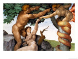 The Sistine Chapel; Ceiling Frescos after Restoration, Original Sin Giclee Print by Michelangelo Buonarroti