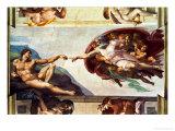 The Sistine Chapel; Ceiling Frescos after Restoration, the Creation of Adam Giclée-Druck von  Michelangelo Buonarroti