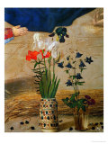 Vase with White, Red and Blue Lilies and Iris, Another with Seven Columbines Giclee Print by Hugo van der Goes