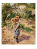 Farmwoman Digging Giclee Print by Camille Pissarro