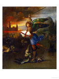 The Archangel Michael Slaying the Dragon Giclée-tryk af Raphael