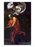Saint Matthew Writing, Inspired by an Angel, 1600-1602 Giclee Print by Caravaggio