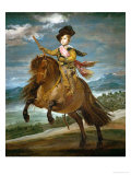 Infante Baltasar Carlos, Son of King Felipe IV and Queen Isabella, on Horseback Giclee Print by Diego Velázquez
