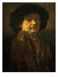 Self Portrait in a Furcoat with Goldchain and Earring, 1655 Giclee Print by  Rembrandt van Rijn