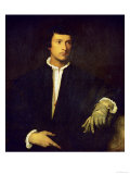 Man with Glove Giclee Print by Titian (Tiziano Vecelli)