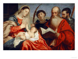 Saint Mary with Child and Saints Stephanus, Hieronymus and Mauritius Giclee Print by  Titian (Tiziano Vecelli)