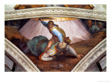 The Sistine Chapel; Ceiling Frescos after Restoration: David and Goliath Giclee Print by  Michelangelo Buonarroti