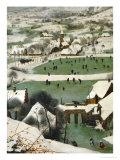 Return of the Hunters, Detail Giclée-trykk av Pieter Bruegel the Elder