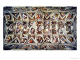 The Sistine Chapel; Ceiling Frescos after Restoration Reproduction proc&#233;d&#233; gicl&#233;e par Michelangelo Buonarroti 