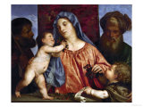 Madonna with Cherries, 1516 Giclee Print by  Titian (Tiziano Vecelli)