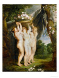 And Jan Brueghel the Younger (1601-1678): The Three Graces Giclee Print by Peter Paul Rubens