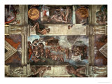 The Sistine Chapel: Noah&#39;s Drunkenness; the Flood Giclee Print by Michelangelo Buonarroti 