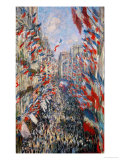 La Rue Montorgeuil, Paris, During the Celebrations of June 30, 1878 Stampa giclée di Claude Monet
