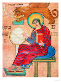 St. Mark Sits Writing; A Winged Lion Hovers Above Him Giclee Print