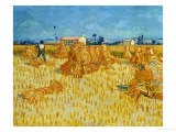 Harvest in Provence of Wheat Field with Sheaves, c.1888 Gicledruk van Vincent van Gogh